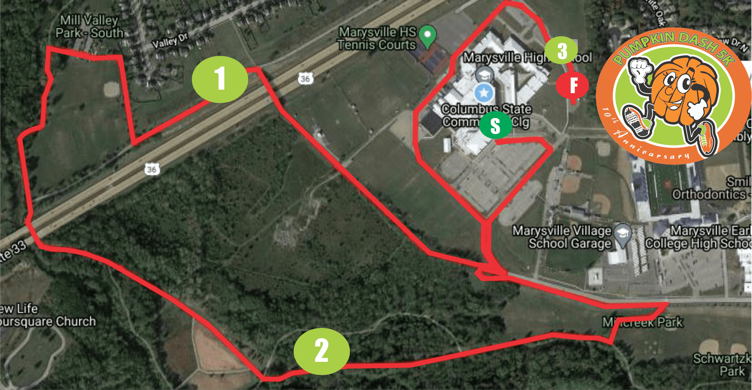 Pumpkin Dash 5k Run Marysville Ohio Course Map